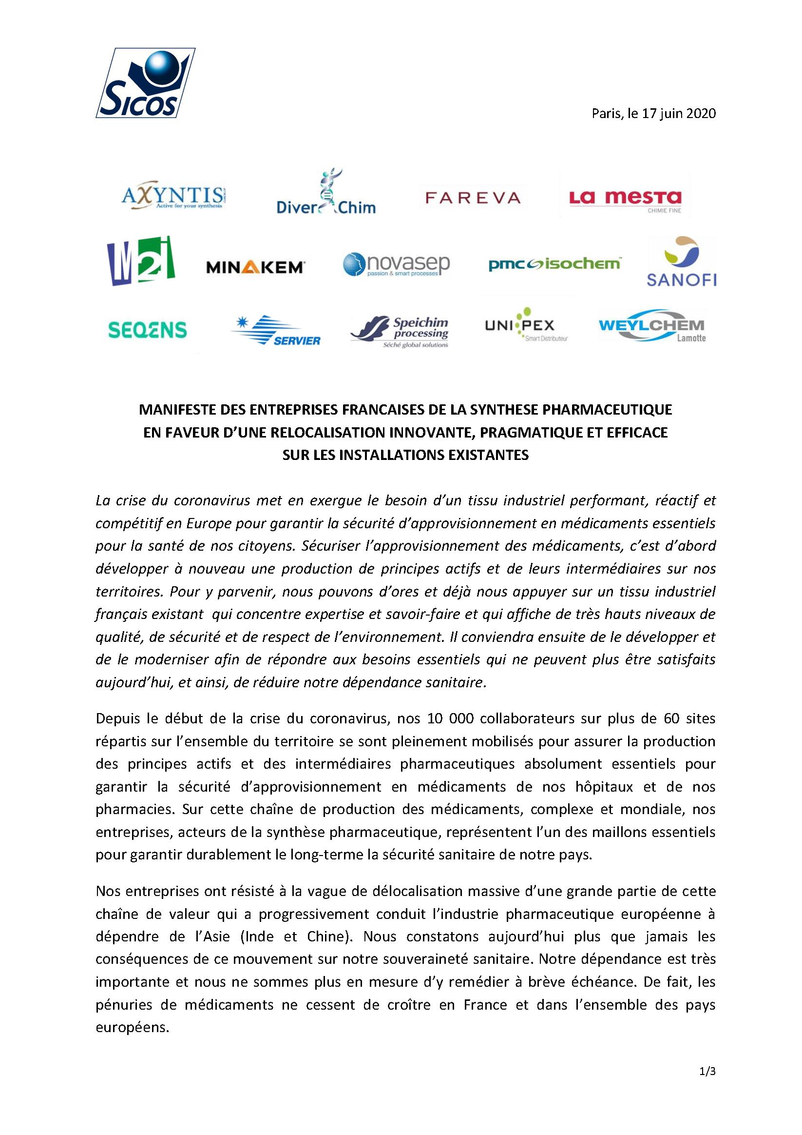 MANIFESTE DES ENTREPRISES FRANCAISES DE LA SYNTHESE PHARMACEUTIQUE_Page 1