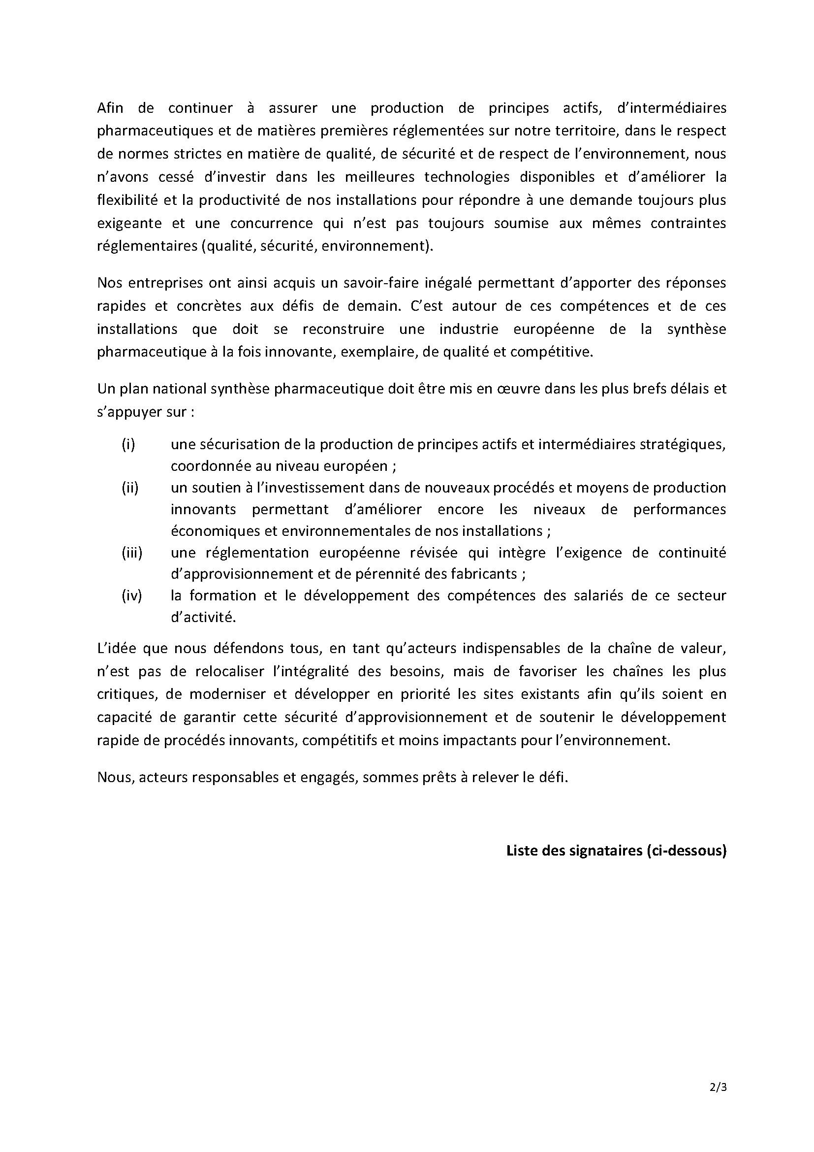 MANIFESTE DES ENTREPRISES FRANCAISES DE LA SYNTHESE PHARMACEUTIQUE_Page 2