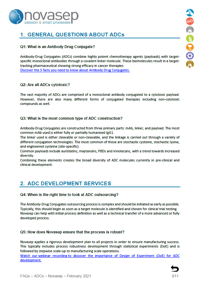 Novasep ADCs FAQ Landing Page