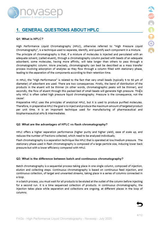 Novasep FAQs HPLC Cover For Landing