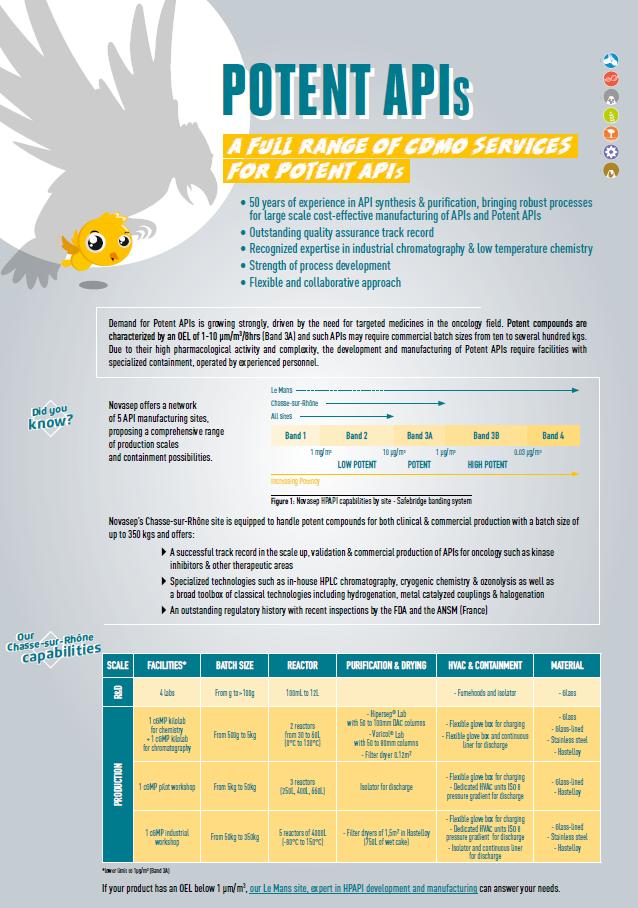 Novasep Potent APIs Leaflet Cover