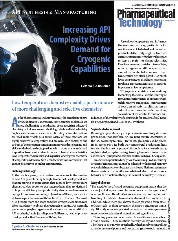 Increasing API Complexity Drives Demand for Cryogenic Capabilities